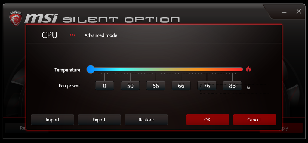 msi Silent Option - advanced mode