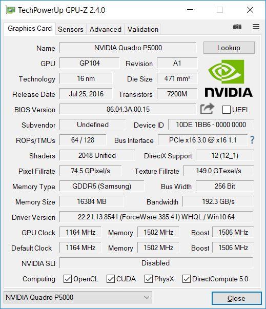 Nvidia Quadro P5000 Nejsilnejsi Pracovni Karta S Jadrem Pascal